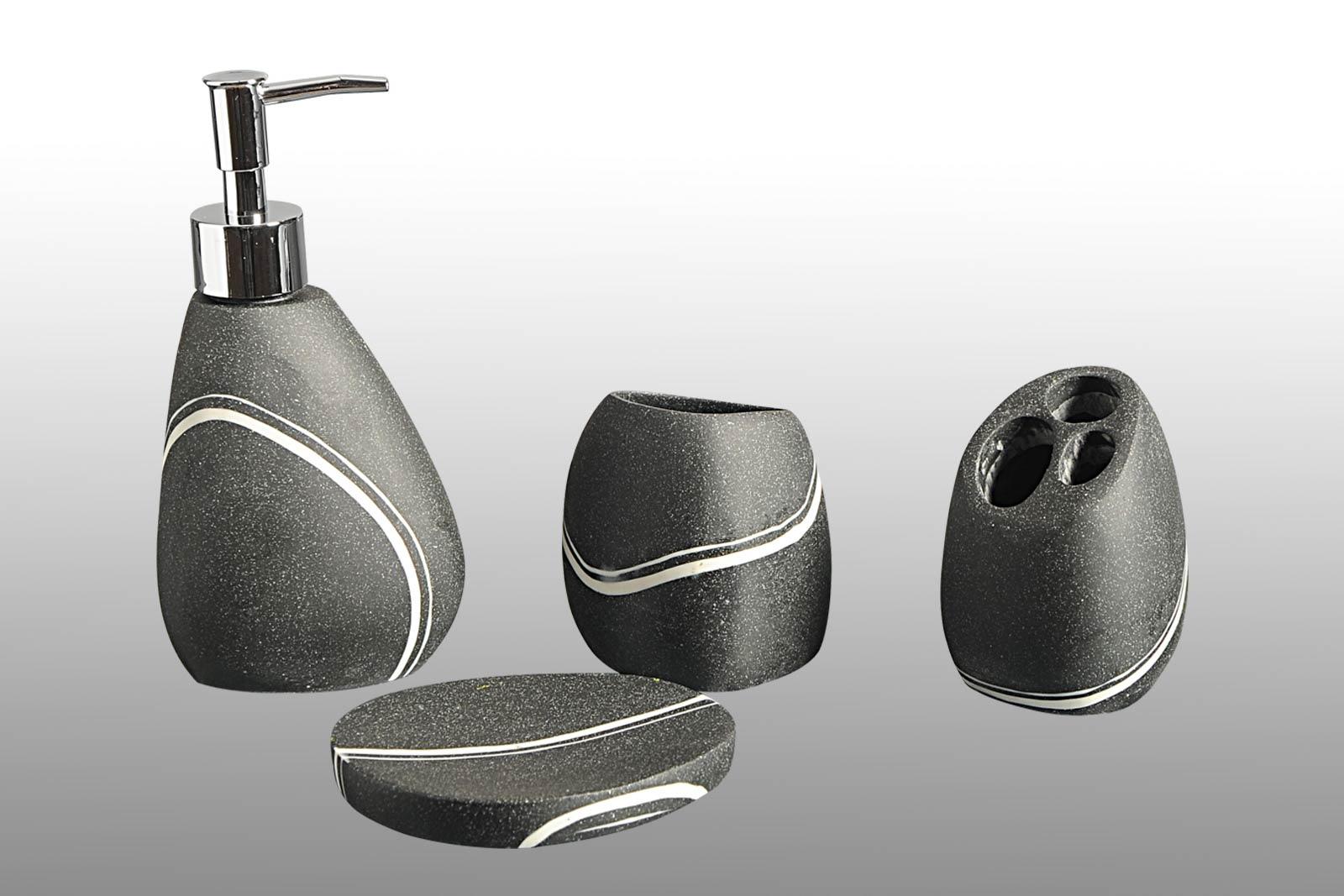 Black & White Granite Bath Accessories