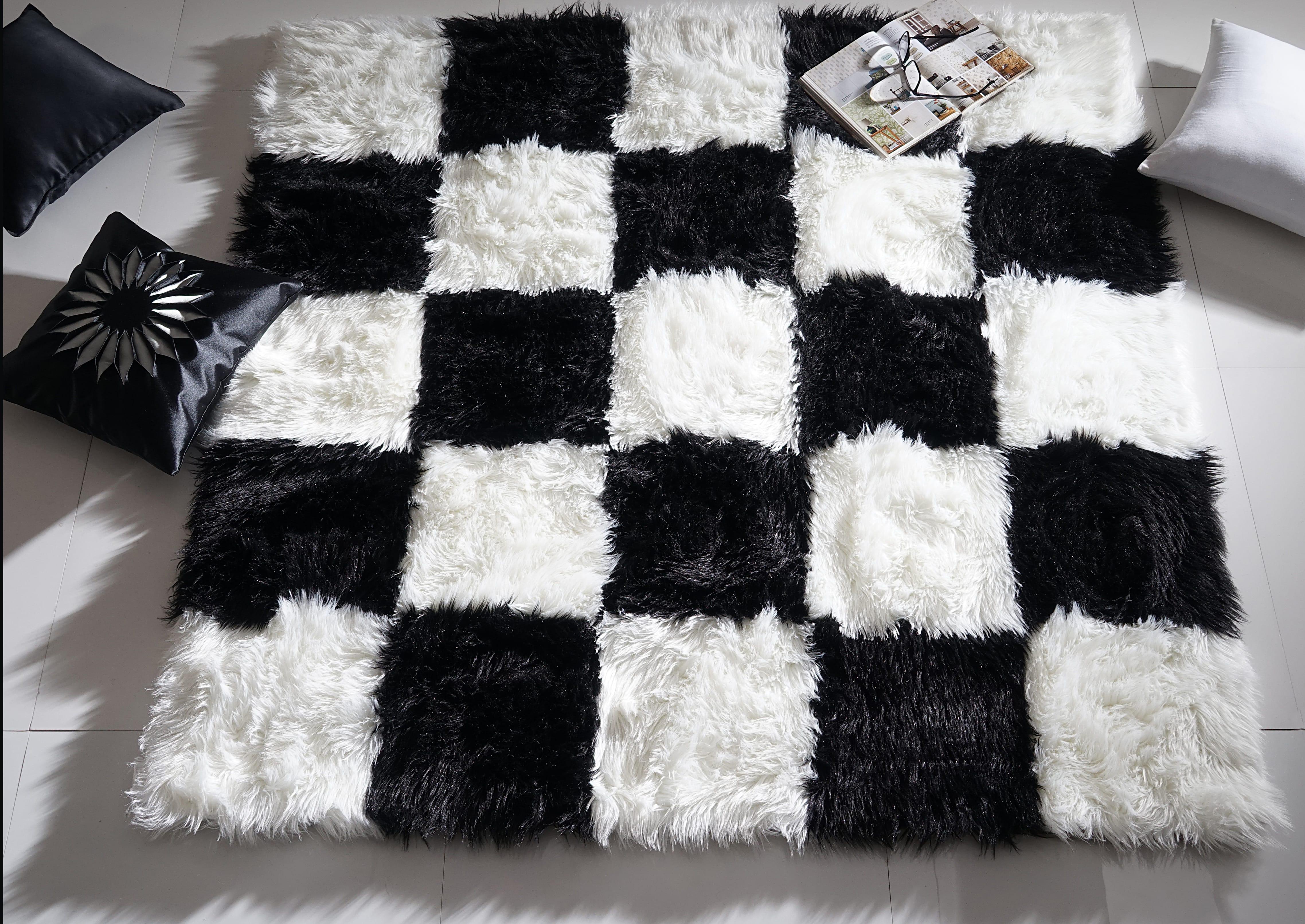White & Black Checks Fur Rug